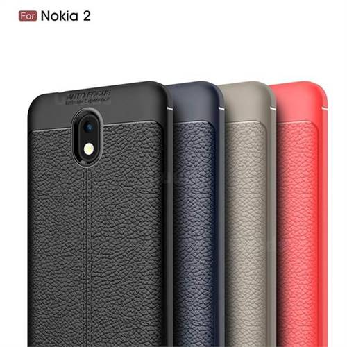 100% authentic 3f0a4 41011 Luxury Auto Focus Litchi Texture Silicone TPU Back Cover for Nokia 2 - Black