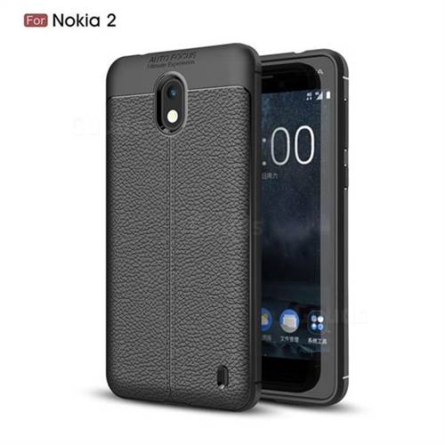 Luxury Auto Focus Litchi Texture Silicone TPU Back Cover for Nokia 2 - Black