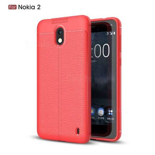 Luxury Auto Focus Litchi Texture Silicone TPU Back Cover for Nokia 2 - Red