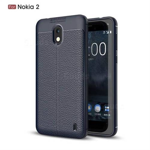 Luxury Auto Focus Litchi Texture Silicone TPU Back Cover for Nokia 2 - Dark Blue