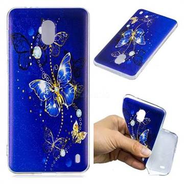 Gold and Blue Butterfly Super Clear Soft TPU Back Cover for Nokia 2