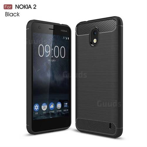 Luxury Carbon Fiber Brushed Wire Drawing Silicone TPU Back Cover for Nokia 2 - Black