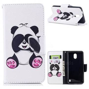 Lovely Panda Leather Wallet Case for Nokia 2
