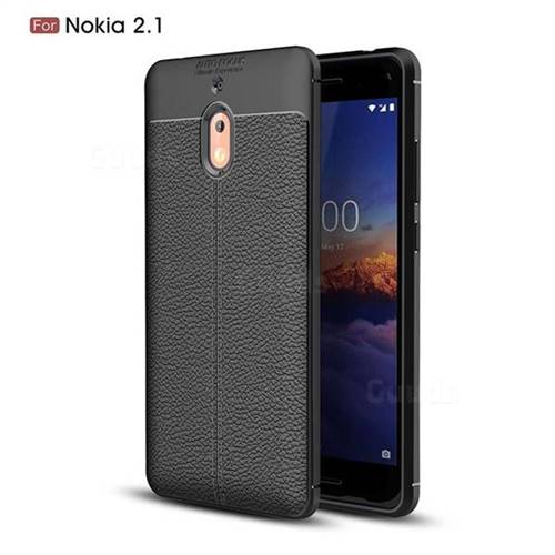 Luxury Auto Focus Litchi Texture Silicone TPU Back Cover for Nokia 2.1 - Black