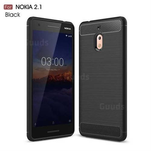 Luxury Carbon Fiber Brushed Wire Drawing Silicone TPU Back Cover for Nokia 2.1 - Black