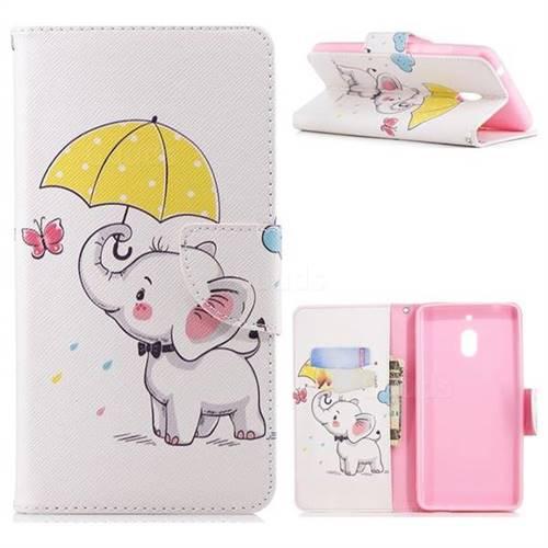 Umbrella Elephant Leather Wallet Case for Nokia 2.1