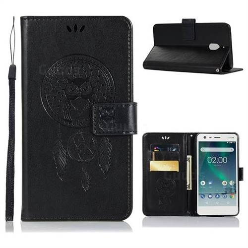 Intricate Embossing Owl Campanula Leather Wallet Case for Nokia 2.1 - Black