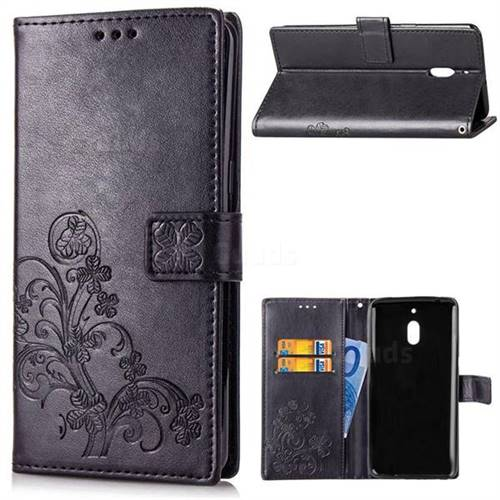 Embossing Imprint Four-Leaf Clover Leather Wallet Case for Nokia 2.1 - Black
