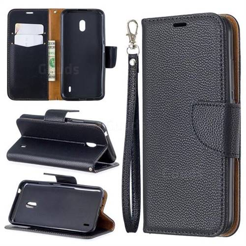 Classic Luxury Litchi Leather Phone Wallet Case for Nokia 2.2 - Black