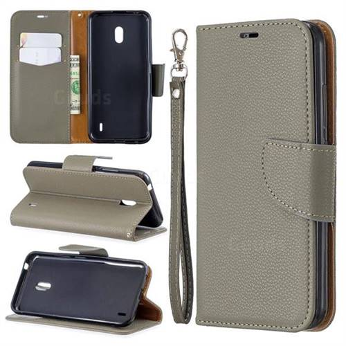 Classic Luxury Litchi Leather Phone Wallet Case for Nokia 2.2 - Gray