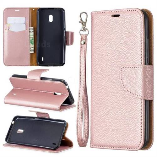 Classic Luxury Litchi Leather Phone Wallet Case for Nokia 2.2 - Golden