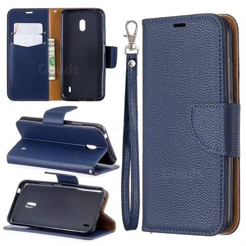 Classic Luxury Litchi Leather Phone Wallet Case for Nokia 2.2 - Blue