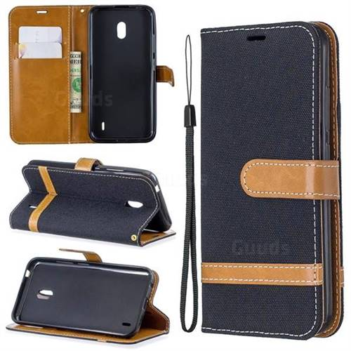 Jeans Cowboy Denim Leather Wallet Case for Nokia 2.2 - Black
