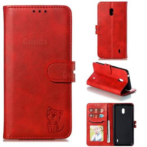 Embossing Happy Cat Leather Wallet Case for Nokia 2.2 - Red