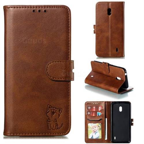 Embossing Happy Cat Leather Wallet Case for Nokia 2.2 - Brown