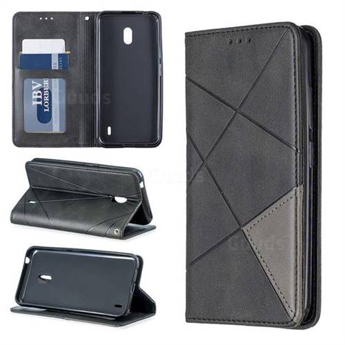 Prismatic Slim Magnetic Sucking Stitching Wallet Flip Cover for Nokia 2.2 - Black
