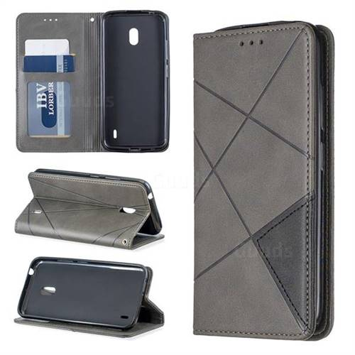 Prismatic Slim Magnetic Sucking Stitching Wallet Flip Cover for Nokia 2.2 - Gray
