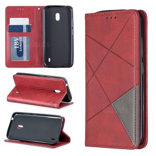 Prismatic Slim Magnetic Sucking Stitching Wallet Flip Cover for Nokia 2.2 - Red