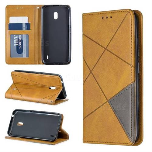 Prismatic Slim Magnetic Sucking Stitching Wallet Flip Cover for Nokia 2.2 - Yellow