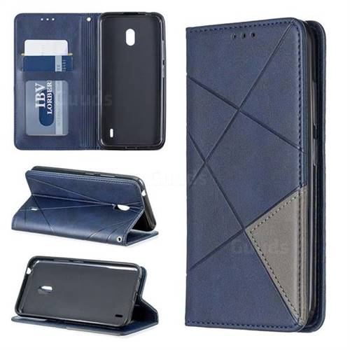Prismatic Slim Magnetic Sucking Stitching Wallet Flip Cover for Nokia 2.2 - Blue