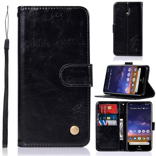 Luxury Retro Leather Wallet Case for Nokia 2.2 - Black