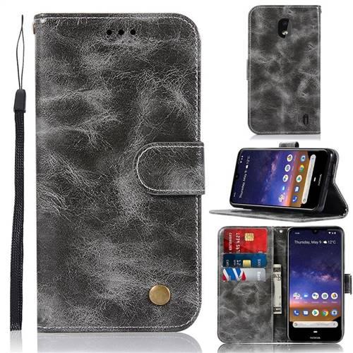 Luxury Retro Leather Wallet Case for Nokia 2.2 - Gray