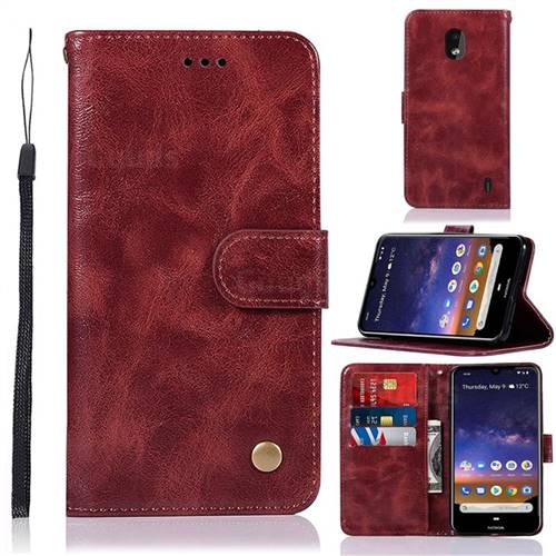 Luxury Retro Leather Wallet Case for Nokia 2.2 - Wine Red