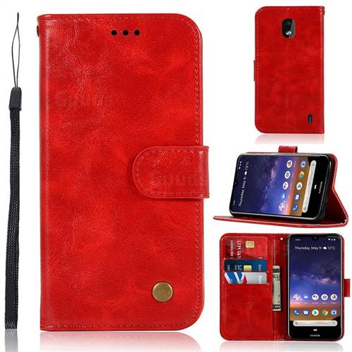 Luxury Retro Leather Wallet Case for Nokia 2.2 - Red