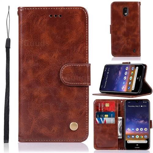 Luxury Retro Leather Wallet Case for Nokia 2.2 - Brown