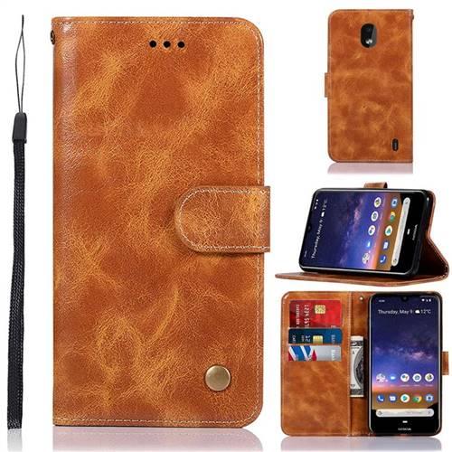 Luxury Retro Leather Wallet Case for Nokia 2.2 - Golden
