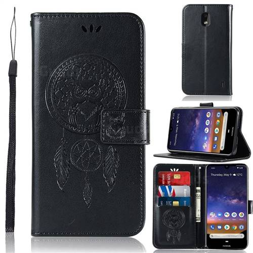 Intricate Embossing Owl Campanula Leather Wallet Case for Nokia 2.2 - Black