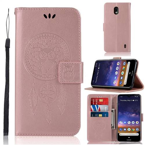 Intricate Embossing Owl Campanula Leather Wallet Case for Nokia 2.2 - Rose Gold