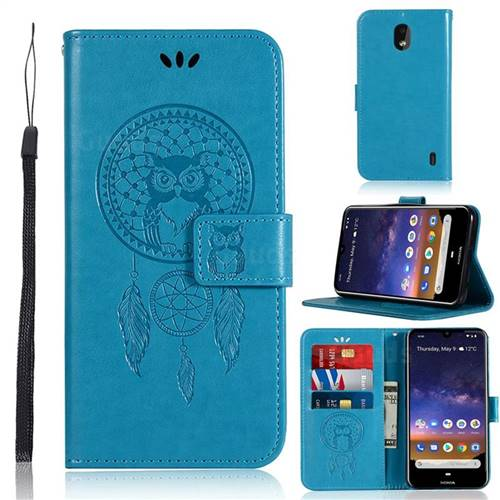 Intricate Embossing Owl Campanula Leather Wallet Case for Nokia 2.2 - Blue