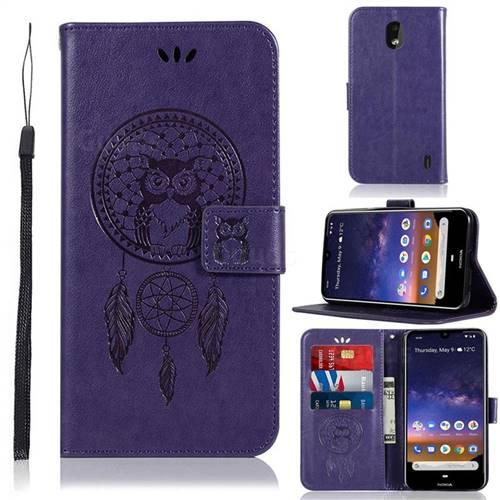Intricate Embossing Owl Campanula Leather Wallet Case for Nokia 2.2 - Purple