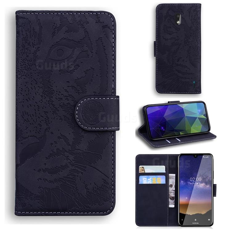 Intricate Embossing Tiger Face Leather Wallet Case for Nokia 2.2 - Black