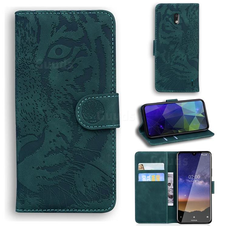 Intricate Embossing Tiger Face Leather Wallet Case for Nokia 2.2 - Green