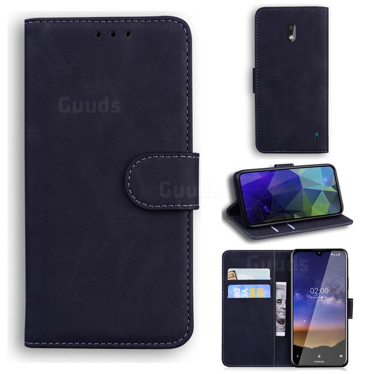 Retro Classic Skin Feel Leather Wallet Phone Case for Nokia 2.2 - Black
