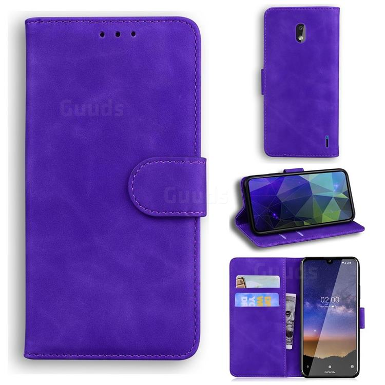 Retro Classic Skin Feel Leather Wallet Phone Case for Nokia 2.2 - Purple
