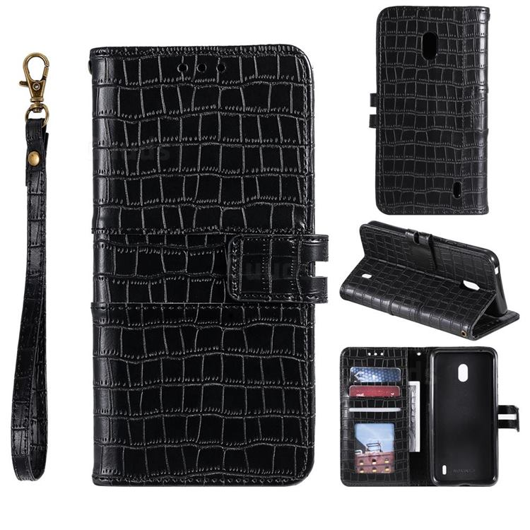 Luxury Crocodile Magnetic Leather Wallet Phone Case for Nokia 2.2 - Black