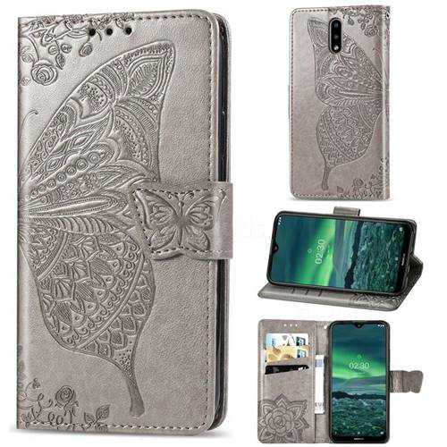 Embossing Mandala Flower Butterfly Leather Wallet Case for Nokia 2.3 - Gray