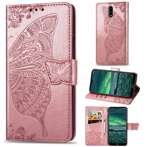 Embossing Mandala Flower Butterfly Leather Wallet Case for Nokia 2.3 - Rose Gold
