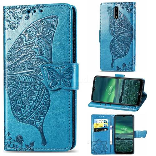 Embossing Mandala Flower Butterfly Leather Wallet Case for Nokia 2.3 - Blue