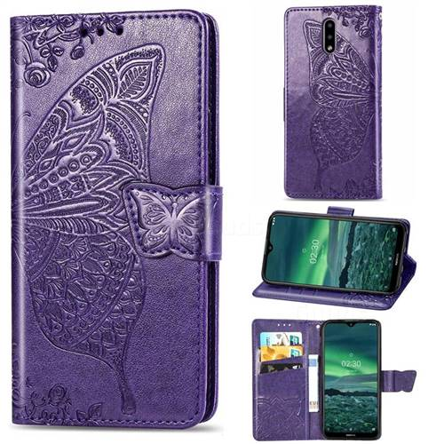 Embossing Mandala Flower Butterfly Leather Wallet Case for Nokia 2.3 - Dark Purple