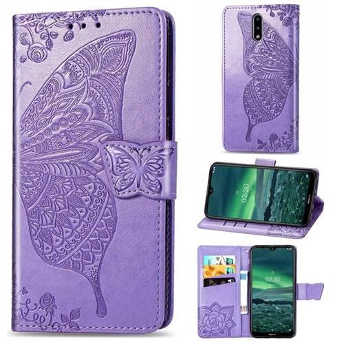 Embossing Mandala Flower Butterfly Leather Wallet Case for Nokia 2.3 - Light Purple