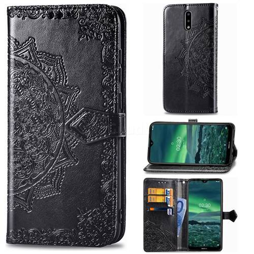 Embossing Imprint Mandala Flower Leather Wallet Case for Nokia 2.3 - Black