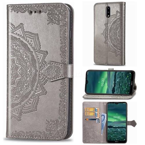 Embossing Imprint Mandala Flower Leather Wallet Case for Nokia 2.3 - Gray