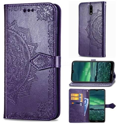 Embossing Imprint Mandala Flower Leather Wallet Case for Nokia 2.3 - Purple