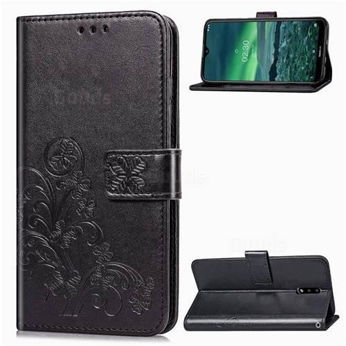 Embossing Imprint Four-Leaf Clover Leather Wallet Case for Nokia 2.3 - Black