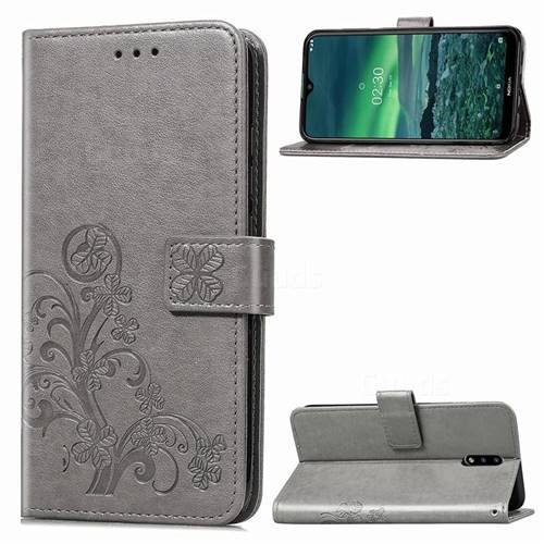 Embossing Imprint Four-Leaf Clover Leather Wallet Case for Nokia 2.3 - Grey