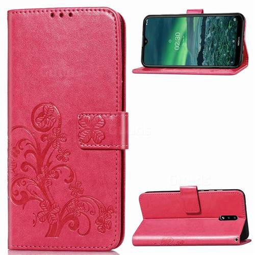 Embossing Imprint Four-Leaf Clover Leather Wallet Case for Nokia 2.3 - Rose